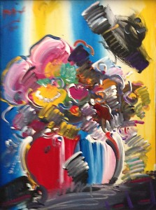 Peter Max Flowers on Blue Yellow and White