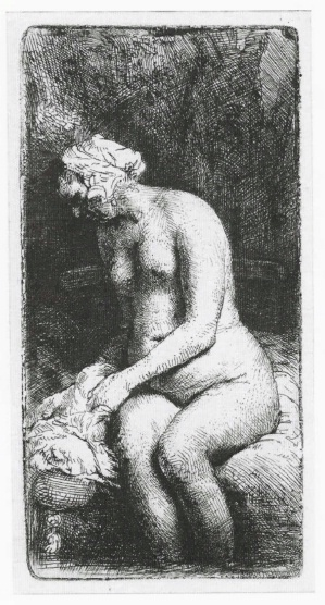 Seated Naked Woman   (Woman bathing her feet at a brook)