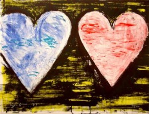 jim-dine-two-hearts-at-sunset