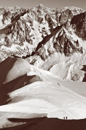 Ski Mountaineers descend to the Vallee Blanche, Chamonix, France