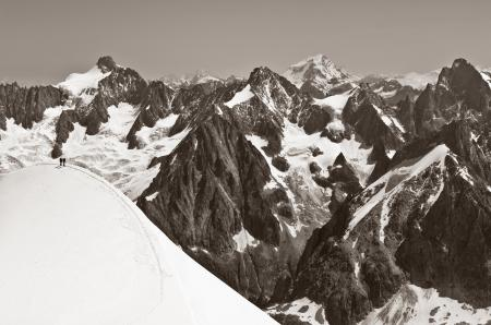 Climbers returning from the Trois Montagnes Route of Mt  Blanc, Chamonix France